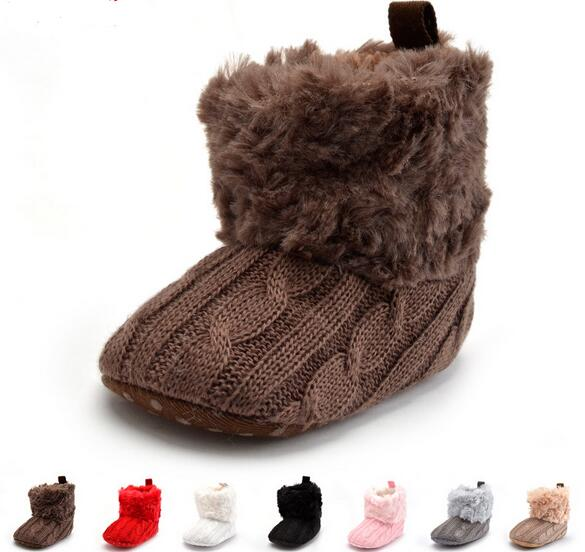 Baby Shoes Infants Crochet Knit Fleece Boots Toddler Girl Boy Wool Snow Crib Shoes Winter Booties