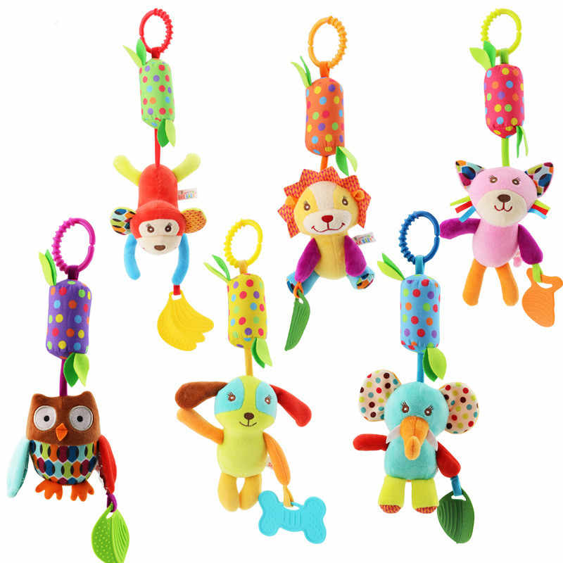 Baby Stroller Toys Animal Elephant Owl Monkey Cat Lion Dog Rattles Educational Toy For Children Baby Rattles Play Birthday Gifts