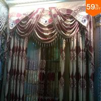 Luxury Red trend Curtain embroidery Wine color Blinds design Velvet flowers sexy style Hollow out curtain Tulle sheet BedRoom