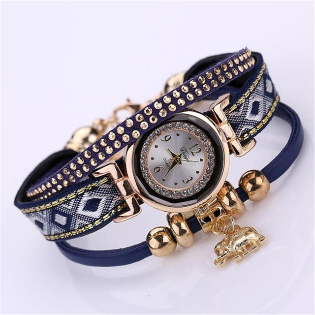 Louise Women Leather Bracelet Watch New Design Fashion Rivet Quartz Watch Reloje