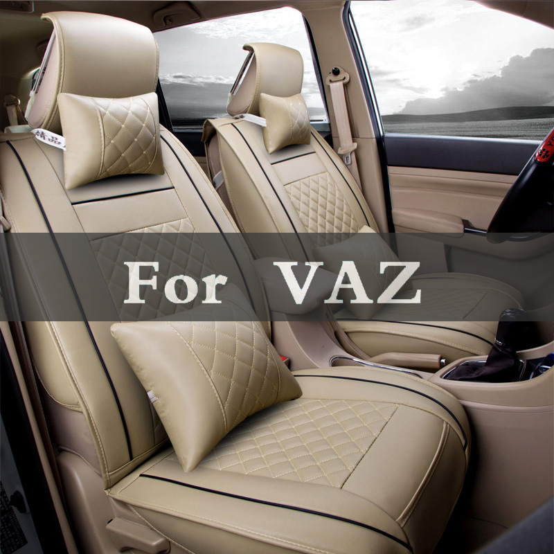 New Fashion Checked Leather Sports Style Car Seat Cover Cushion Set For Vaz 2104 2109 2111 2121 Kalina Largus Priora Revolution