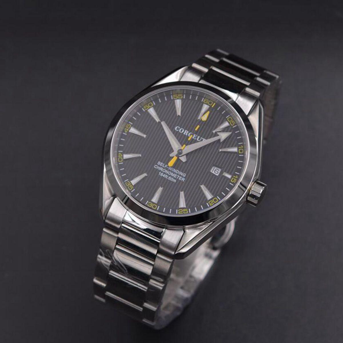 Corgeut 41mm mężczyźni zegar automatyczne ze stali nierdzewnej niebieski dial mechaniczny szkła szafirowego sukienka mężczyźni zegarki luksusowe top marka w Zegarki mechaniczne od Zegarki na  Grupa 1