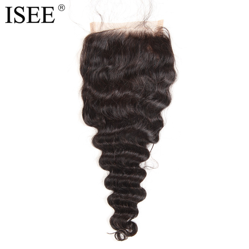 ISEE Loose Wave Swiss Lace Based Closure Remy Hair Free Part 4 4 Can Be Dyed