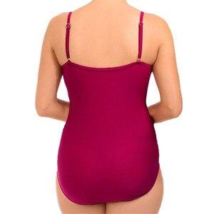 Image 3 - Ruffle One Piece Swimsuit Mature Women Cover Belly Swimwear Slimming Vintage Retro Bodysuit Bathing Suits Monokini Plus Size 3XL