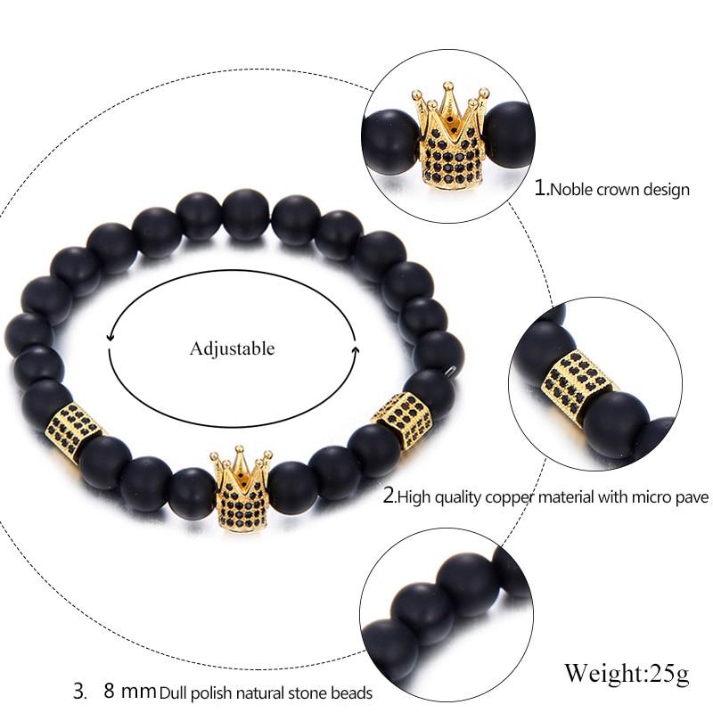 Лидер продаж браслет из натурального камня бусы браслет с изображением Будды высокое качество Медь Материал установка циркон Благородный Корона дизайн