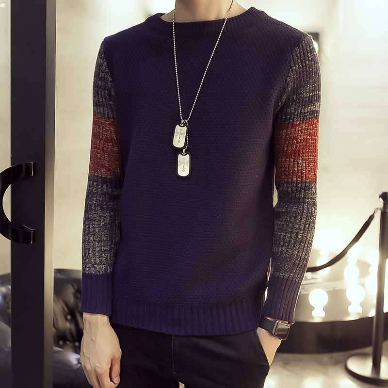 2016 New Autumn Fashion Brand Casual Sweater O Neck Mosaic Slim Fit Knitting Mens Sweaters Plus