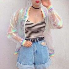 цена на ZOGAA Sunproof Harajuku Women Jacket Laser Rainbow Symphony Hologram Women BasicCoat Clear Rainbow Transparent Bomber BasicCoat