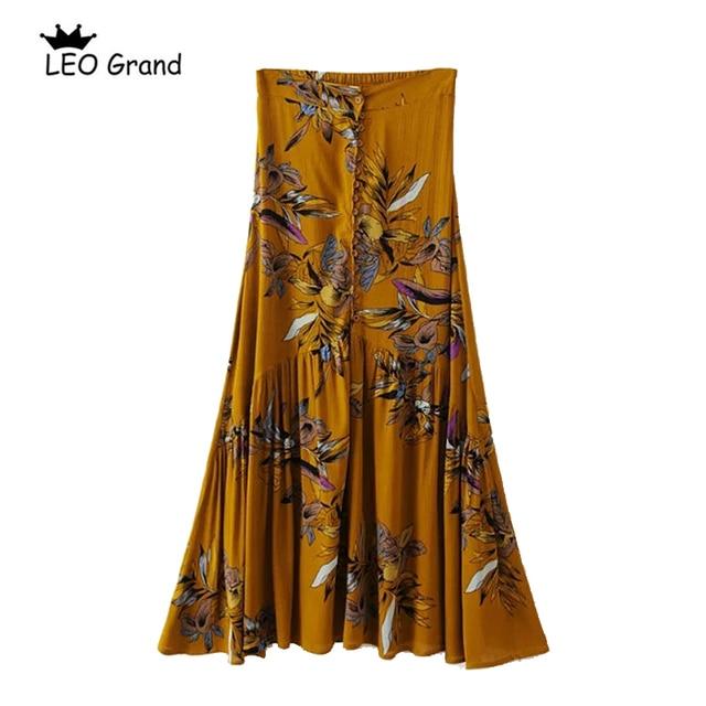 8b80a5ba9a Leo Grand women summer long skirts floral print high waist side split female  maxi skirt boho beach skirt 904108