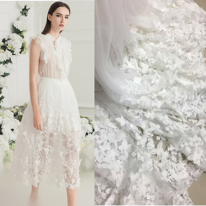 3d three dimensional butterfly flower handmade lace for High end wedding dress