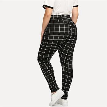 Black And White Plaid Plus Size Mid Waist Women Leggings