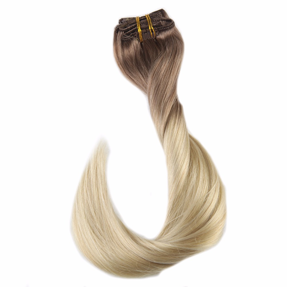 Full Shine 7Pcs 100g Hair Clip In Extensions Ombre Color 100% Remy Human Hair Clip In Dip Dyed Extensions Double Wefted Hair(China)