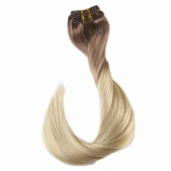 Full Shine 7Pcs 100g Hair Clip in Extensions Ombre Color 100% Machine Made Remy Clip in Dip Dyed Extensions Double Wefted Hair - DISCOUNT ITEM  10% OFF All Category