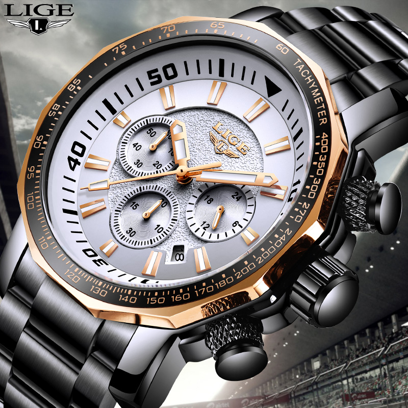 Men Watches Luxury Brand LIGE Watch Men Luxury Business Quartz Watch Men Stainless Steel Mesh Belt Date Fashion Black Watch+Box new fashionable men business silver belt gear quartz watch