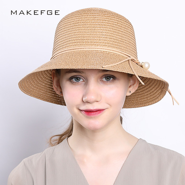 23807c39543 brand 2018 cap Big brim Ladies summer straw hat youth hats for women Shade  sun hats Beach hat sale Pearl decoration