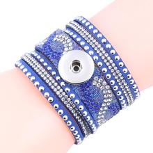 8 Colors New Unisex Multilayer Rhinestone Leather Bracelet Valentine's Day Gift 18/20mm Snap Button Bracelet Jewelry ZE181