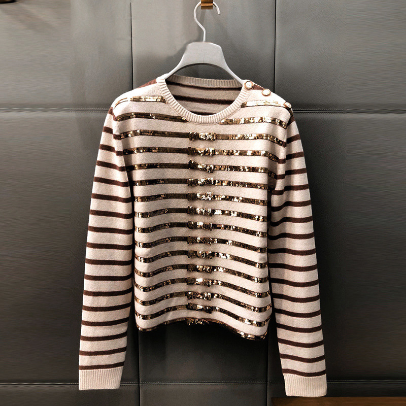 New Spring 2009 V   Same Golden Butterfly Knot Flash Stripe Long Sleeve Knitted Shirt Pullover I