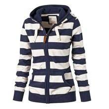 Women Lady Long Sleeve Hoodie Sweater Pullover Top Zipper Lace-up Striped Hooded Sweatshirt Jumper Coat Tops Jackets Fall Autumn