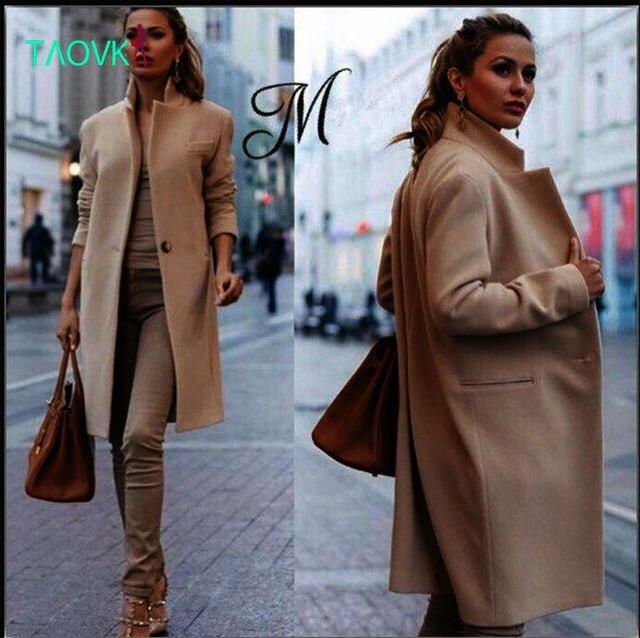 TAOVK 2016 новая мода Русский стиль женщины Нагрудные шерстяное пальто Тонкий хаки цвета one button Длинный Плащ