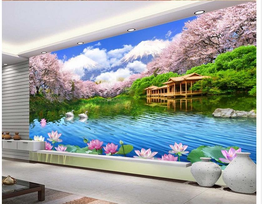 custom 3d wallpaper wall mural photo wallpaper Sakura scenery Swan TV background wall living 3d wallpaper Обои