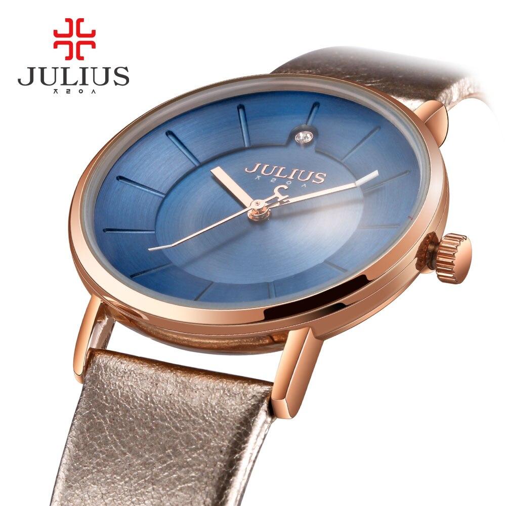 Prix pour Promotion Julius Montres Mode Femmes D'affaires Bracelet En Cuir Japon Quartz Movt Original Designer Horloge Relogio Relojes JA-921