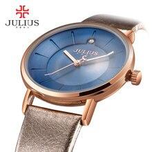 Promoción Julius Relojes Negocio de La Moda de Las Mujeres Correa de Cuero Del Cuarzo de Japón Movt Original Diseñador Reloj Relogio Relojes JA-921