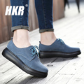 HKR 2017 spring women casual shoes ladies Lace-up moccasins suede genuine leather platform flats shoes women's wedges shoes 2299