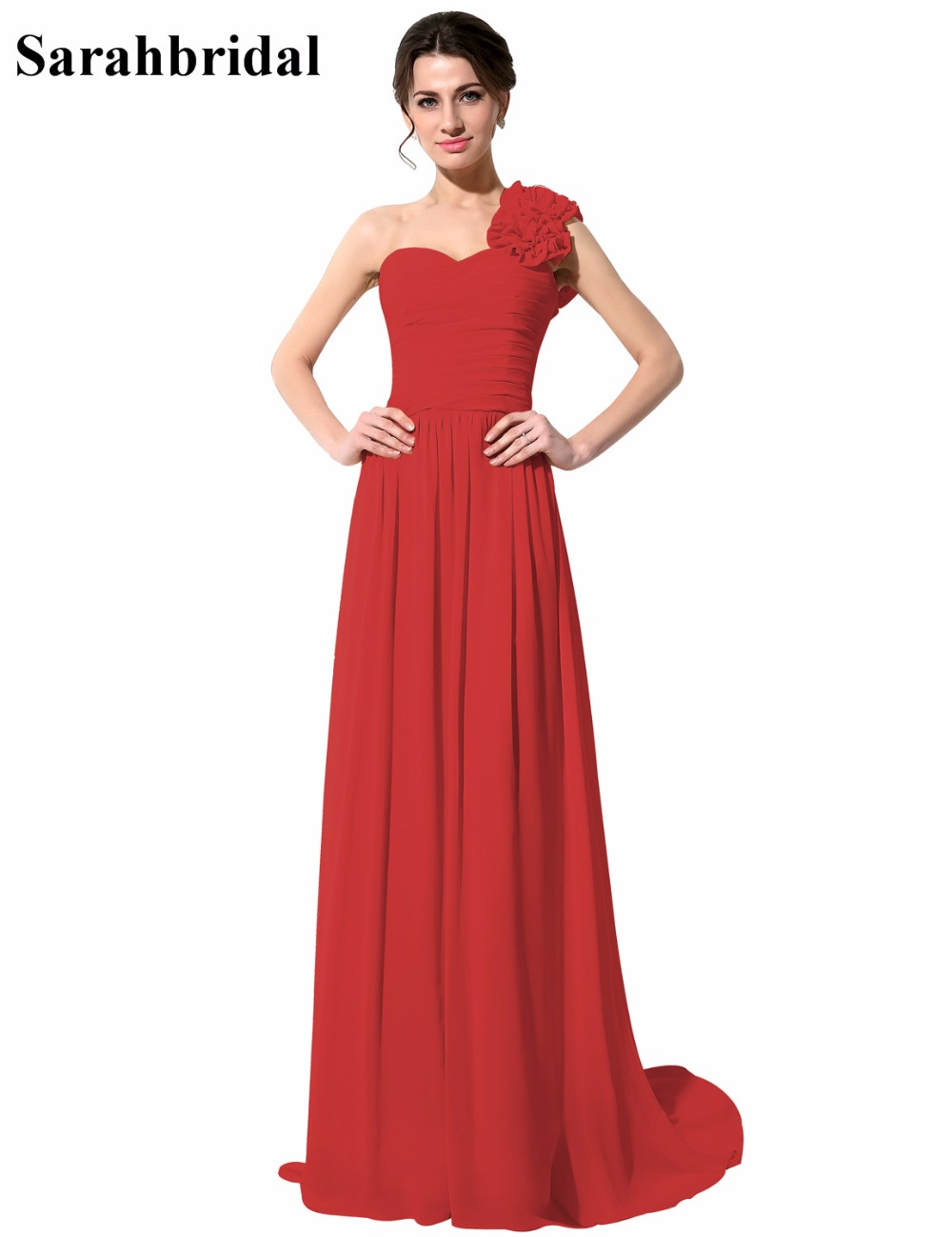 Online get cheap red black bridesmaid dress aliexpress simple one shoulder bridesmaid dresses red black handmade flowers sweetheart chiffon long formal dress vestido de ombrellifo Gallery