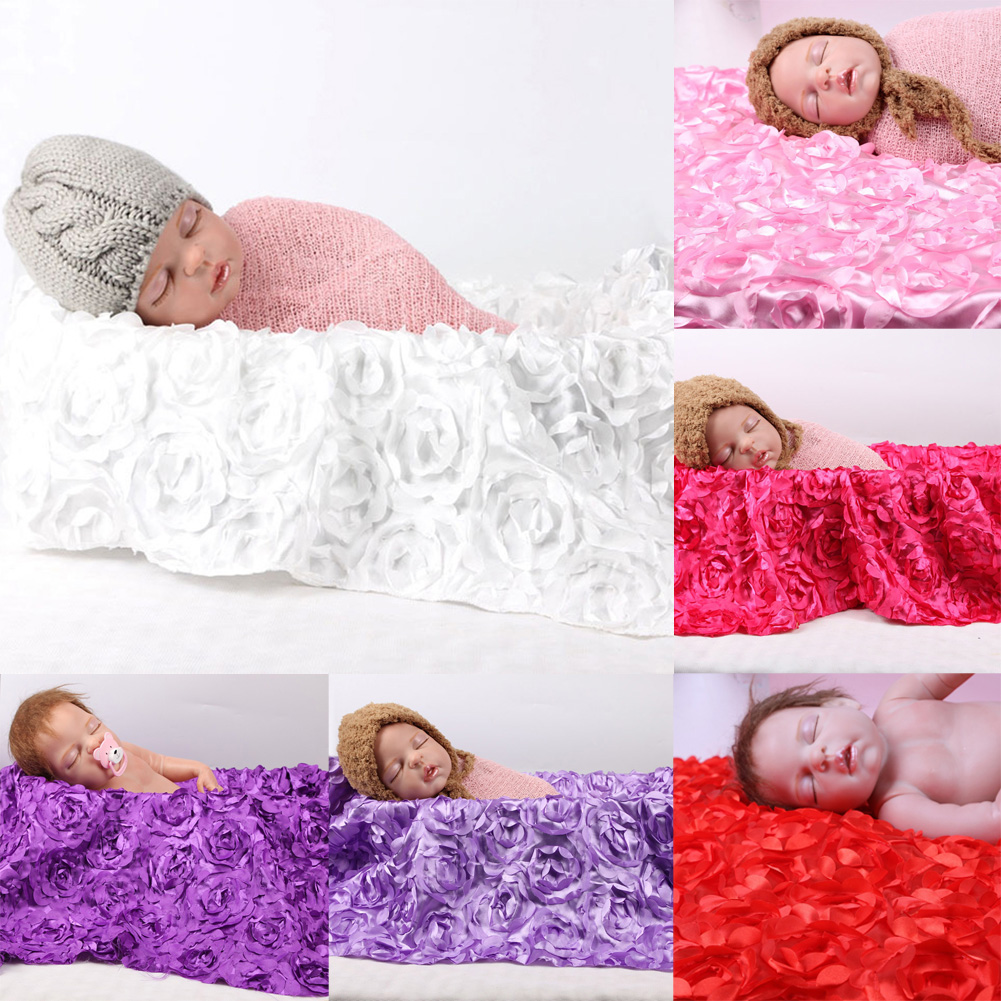 Newborn Photography Photo Props 3D Rose Flower Backdrop Beanbag Baby Blanket Large Rug Photography Props 130cm*95cm ...