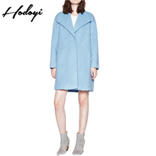 Hodoyi Women Fashion New Autumn Coat Solid Light Blue Loose Casual Button Pockets Coat Long Sleeve Lapel Collar Trench Long Coat