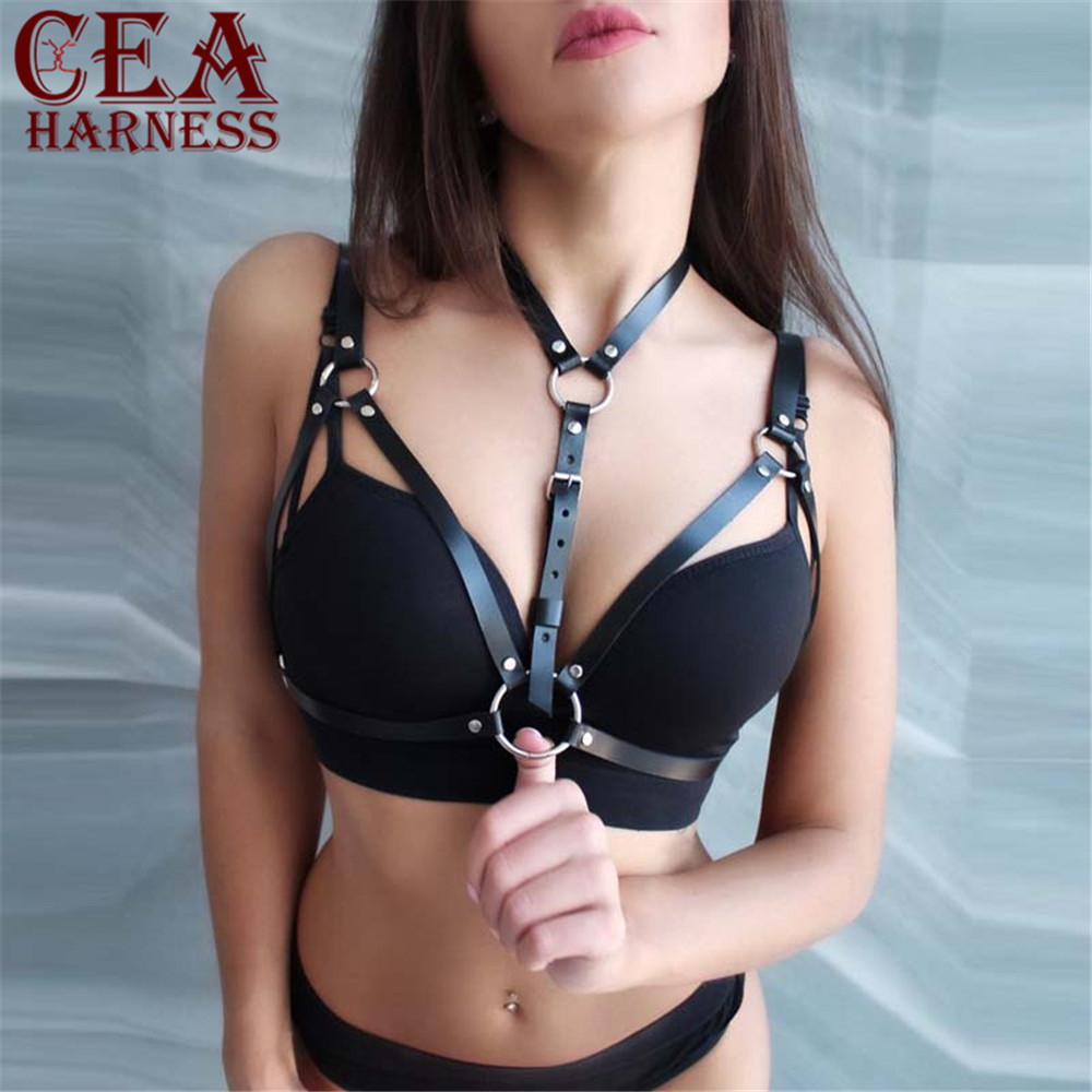 CEA.HARNESS Women Leather Harness Belt Body Bondage Adjust Cage Bra Lingerie Harajuku Goth Dance Party Club Party Festival Top