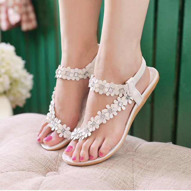 23acdf0b3c1297 Women Summer Comfort High Quality Flat Sandalias Bohemia Flower Beads Flip-flop  Shoes Flat Sandals