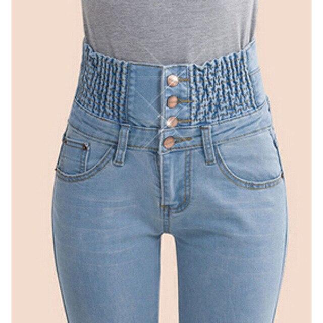 2019 jeans print  Fashion Women Elastic High Waist Skinny Stretch Jean Female Spring Jeans Feet Pantalones mujer Plus Size 2