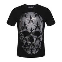 PP bag packaging!Mens Designer T Shirt Men's Summer O neck Tshirt 100% Cotton Breathable Tops Fashion Tees Skull Star Printed