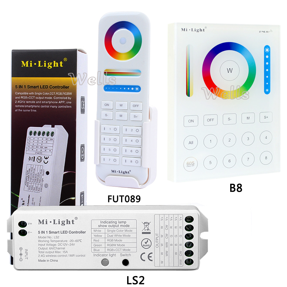 B8 Touch Panel a Parete; FUT089 8 Zone remote RF dimmer; LS2 5IN 1 controller smart led per RGB + CCT led strip MiLight