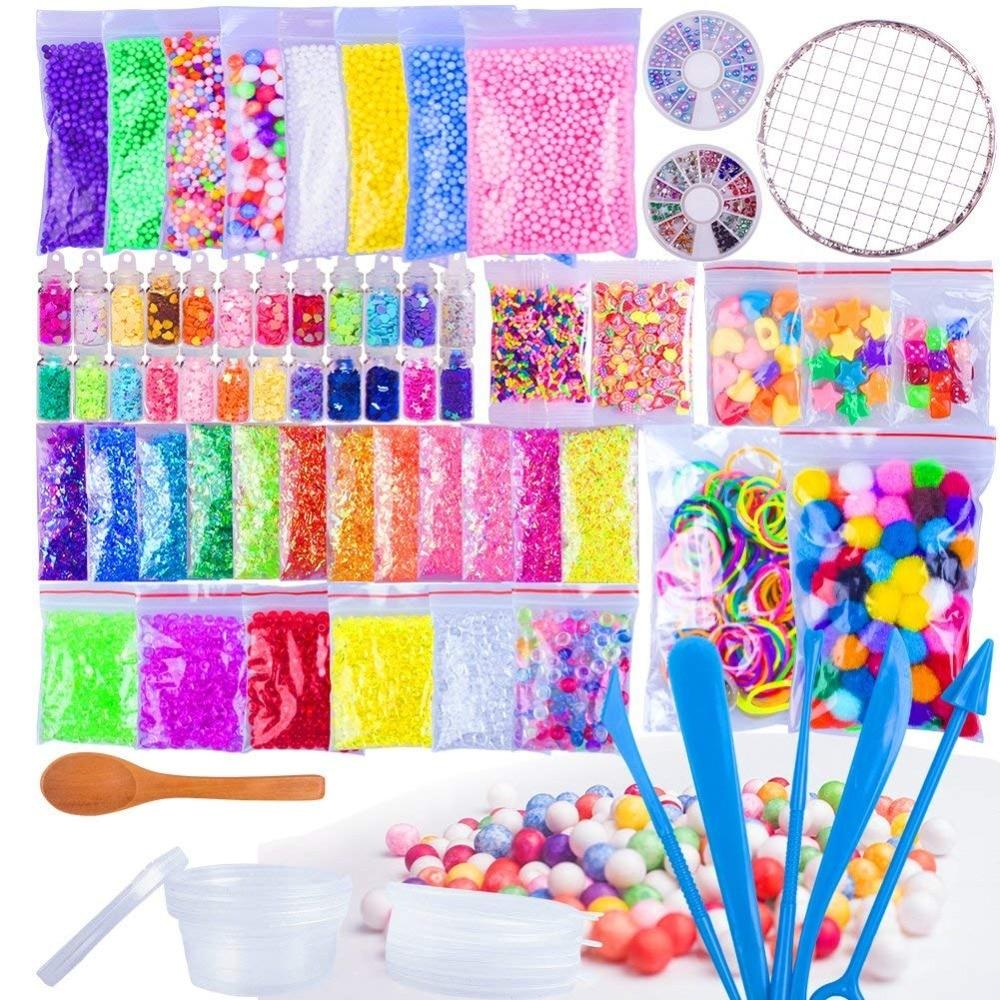 75 Pack Making Kits Supplies for Slime Including Foam Balls Fishbowl Beads Net Glitter Jars Pearls