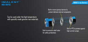 Image 4 - 2pcs IMALENT MRB 186P30 3.7v 18650 3000mAh 15A Li ion rechargeable battery high performance for high drain LED freshlights