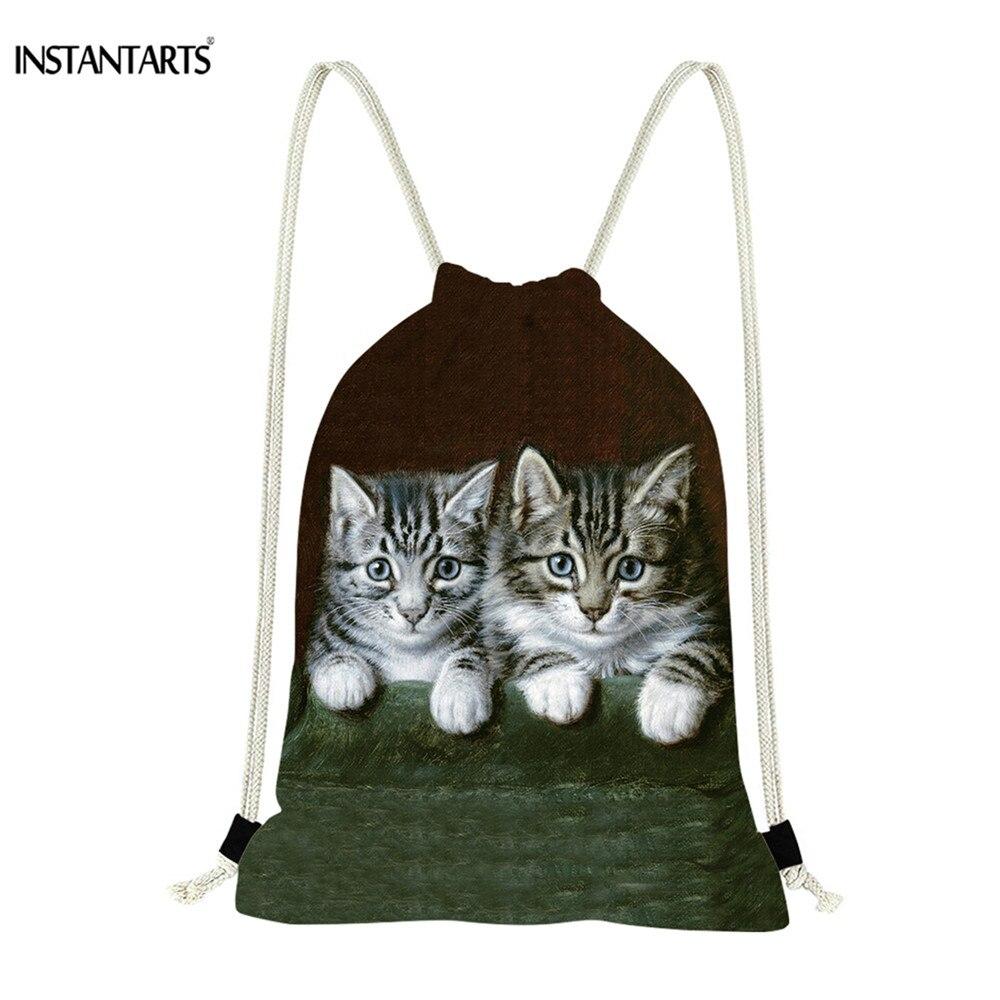 INSTANTARTS Cute Cat Kitty Print Drawstring Backpack for Women Men s Casual Travel Softback Mini Boy