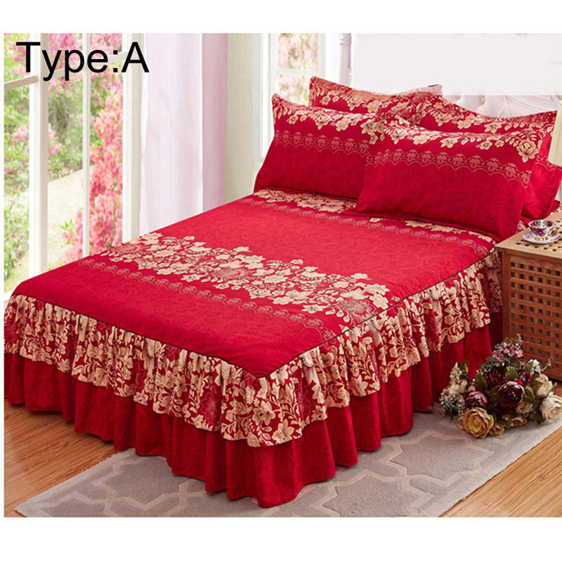New Sanding Bedspread Queen Bed Skirt Thickened Fitted Sheet Single Double Bed Dust Ruffle Princess Bedsheet Pillowcase 1