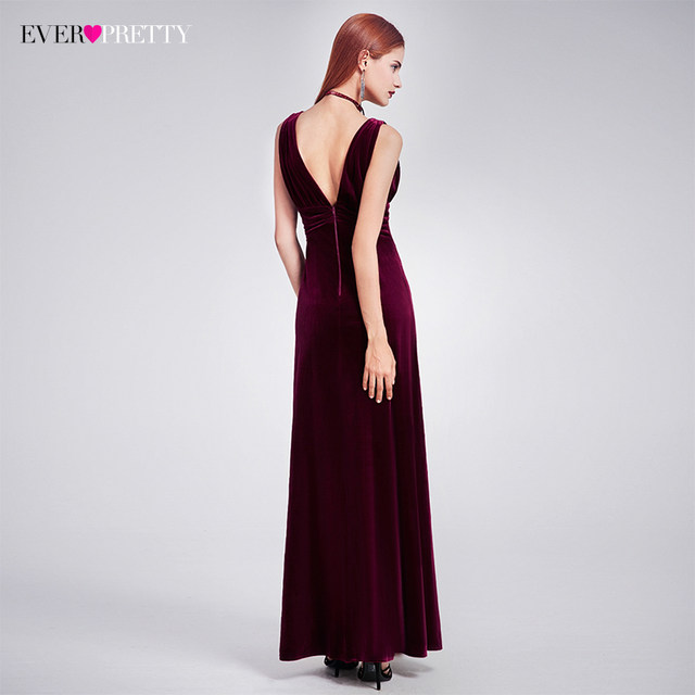 Online Shop Elegant New Year Velvet Long Evening Dresses Ever Pretty ...