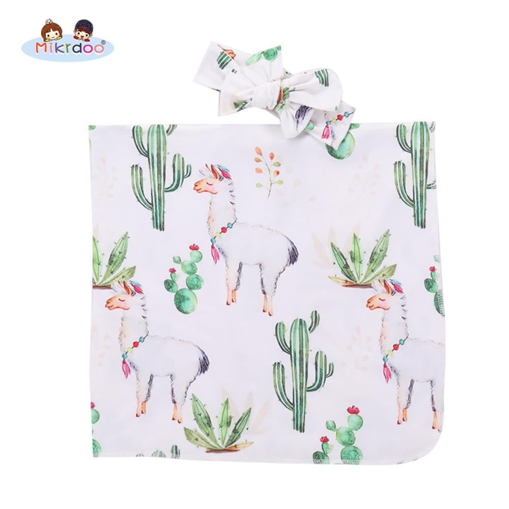 Newborn Baby Receiving Blanket LLama  and Cactus Printed with Headband Cute Swaddle Baby Boy Girl Cartoon Animal Sleepwear