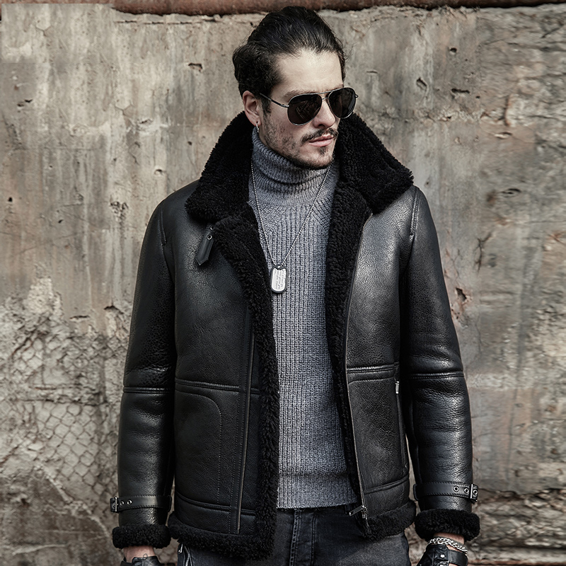 437e7b8e7abe Original Flying Jacket B3 Sheepskin Jacket Men s Shearling Jacket Men s Fur  Coat Aviation Leathercraft Pilots Coat Brown Black