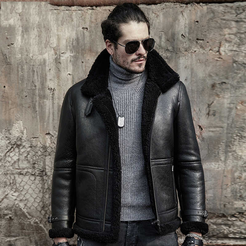a8fe687a032 Original Flying Jacket B3 Sheepskin Jacket Men s Shearling Jacket Men s Fur  Coat Aviation Leathercraft Pilots Coat