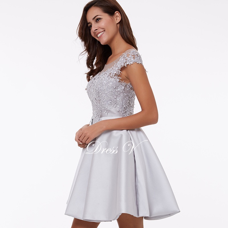 dce4baa73d496 Cheap peach A-line mini appliques cocktail party dress above knee short  lace homecoming dress