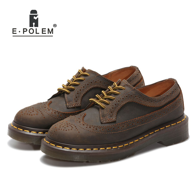 New Brown Genuine Leather Bullock Martin Shoes Roman Style Vintage Carved Low Uppers Men Unisex Lace-Up Leather Shoes cunddio new product low to help bullock restoring ancient ways genuine leather british the stylist pointed men s shoes 38 46