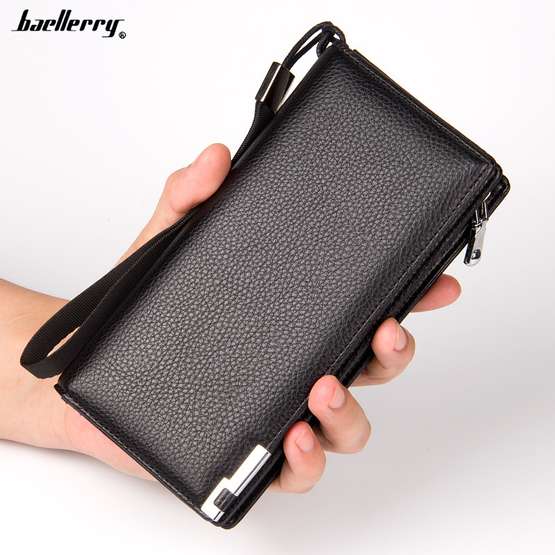 Baellerry Famous Brand Men Wallets Long Clutch Zipper Wallet Men High Quality PU Leather Purse Male Handy Money Bag with Strap brand baellerry business men s leather wallets solid zipper purse portable cash purses male clutch phone bag male wallets