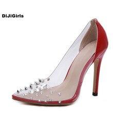 DiJiGirls New Summer High Heels Women Sandals Pointed Rivet Sexy Fashion Stiletto Heel Woman Shoes Head