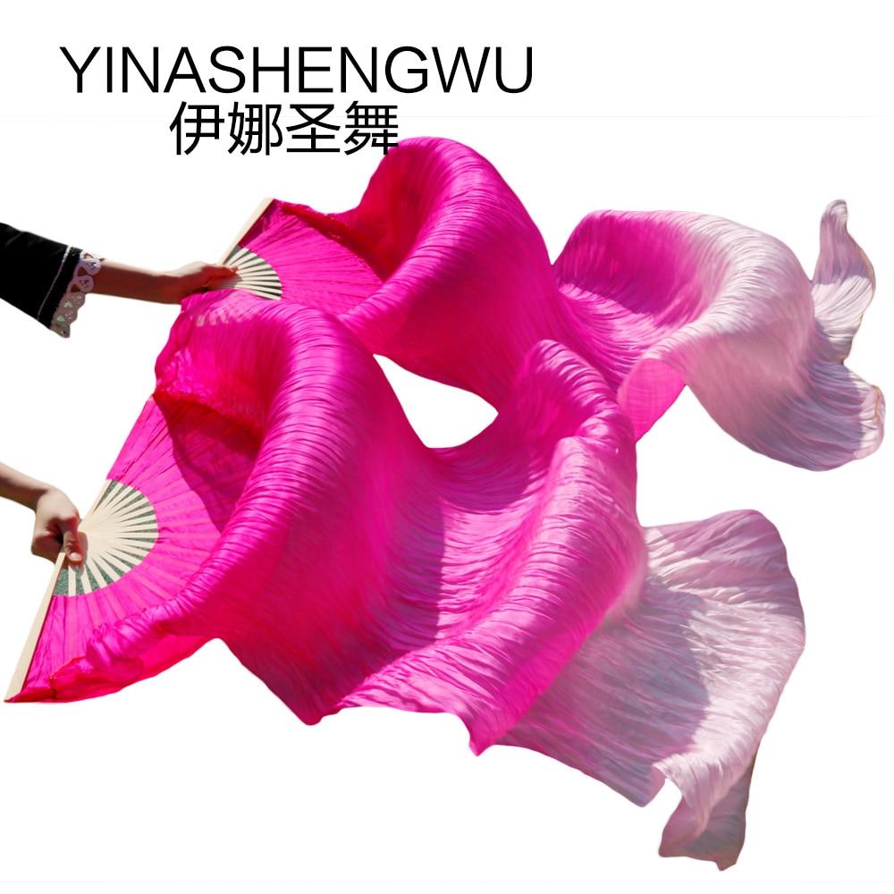 New Arrivals Stage Performance Dance Fans 100% Silk Veils Colored Women Belly Dance Fan Veils (2pcs) Fuchsia+light Fuchsia+pink