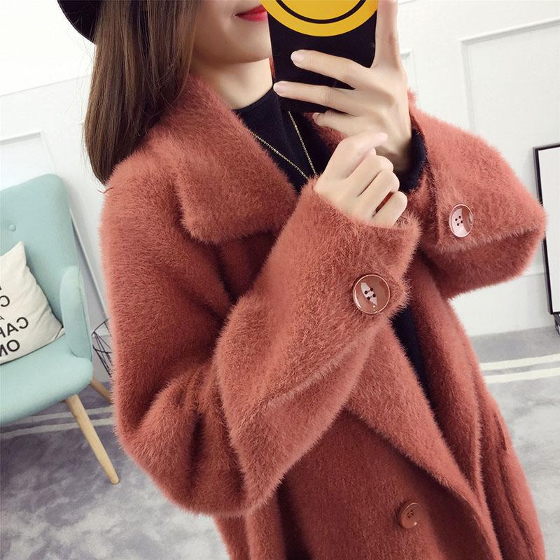 Femmes Tcyeek caramel Tricoté Feminino Épais Cardigans black Automne Casaco Vêtements 2019 Vestes Red Apricot Chandail rust Coréenne Femme Cardigan Lwl683 Hiver camel FqwrpFI