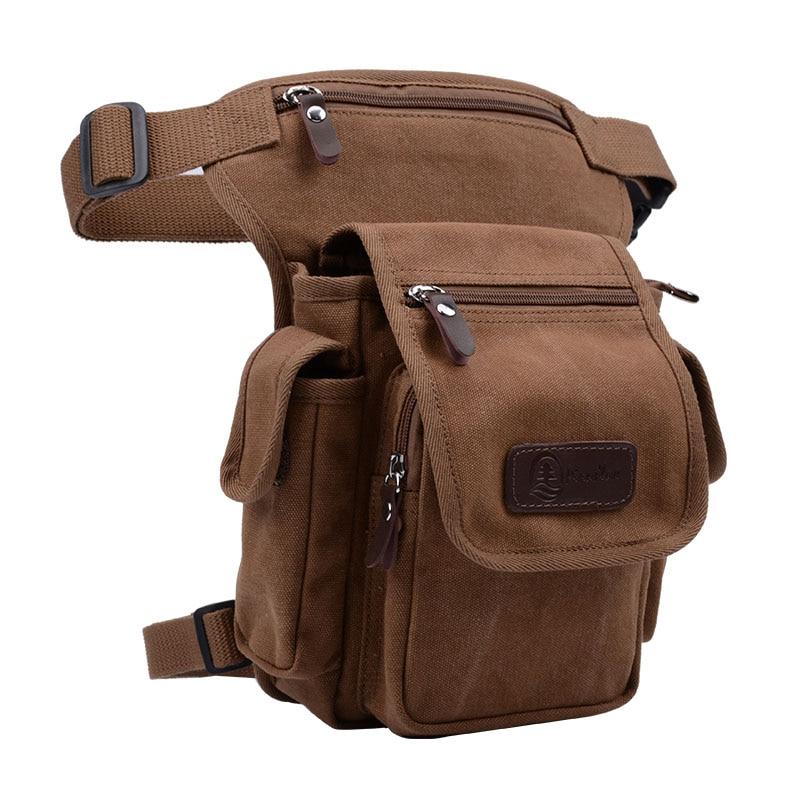Men Canvas Waist Drop Leg Bag Military Messenger Shoulder Fanny Pack Cross Body Thigh Hip Bum Belt For Travel Motorcycle Riding