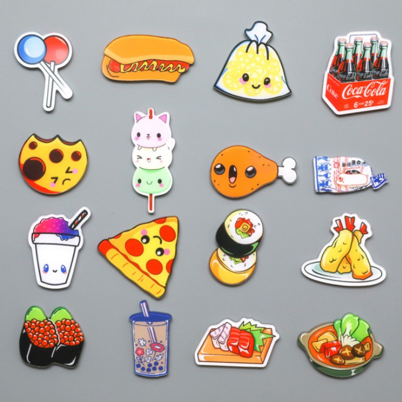 cartoon food cute magnets fridge refrigerator snacks sticker whiteboard pcs gift acrylic material fast toy series decoration mouse zoom garden